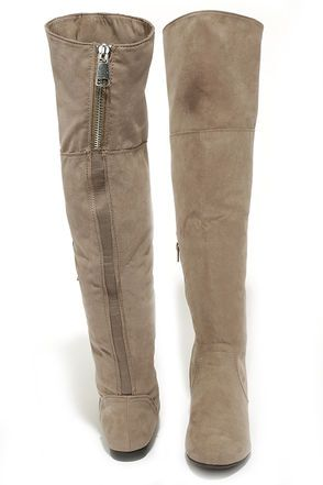 Cute Taupe Boots - Over the Knee Boots - Flat Boots - $41.00