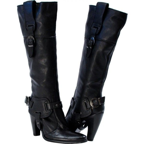 PAOLO IANTORNO Tabitha Hi-Fashion Motorcycle Boots Black ($170) ❤ liked on Polyvore featuring shoes, boots, black, biker boots, black buckle boots, motorcycle boots, engineer boots and high heel shoes