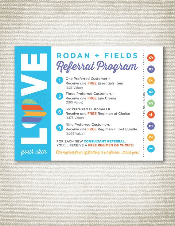 INSTANT DOWNLOAD!! I LOVE these referral cards for your rodan and fields business! They are postcard size and with this purchase comes a single postcard as well as a four on an 8.5 x 11 sheet for easy printing. Thanks a bunch! Kerri ***your files will not include watermark