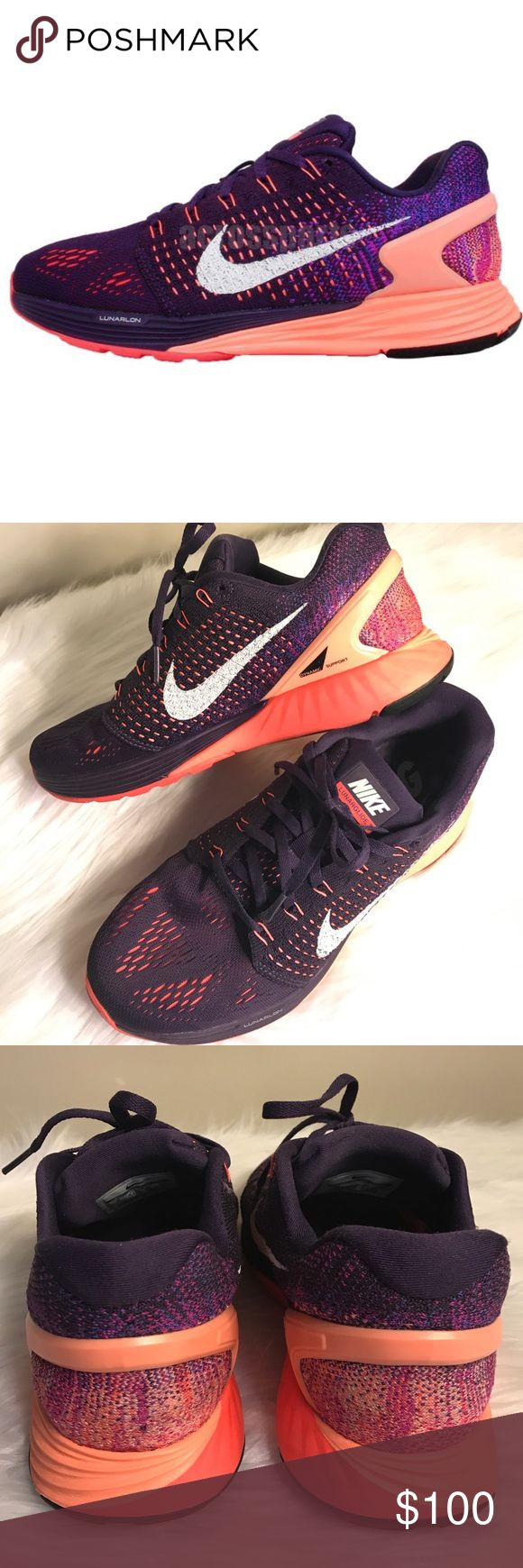 Wmns Nike Lunarglide 7 VII Used once, in good condition. Flyknit Purple Orange Womens Running Shoes Nike Shoes Sneakers