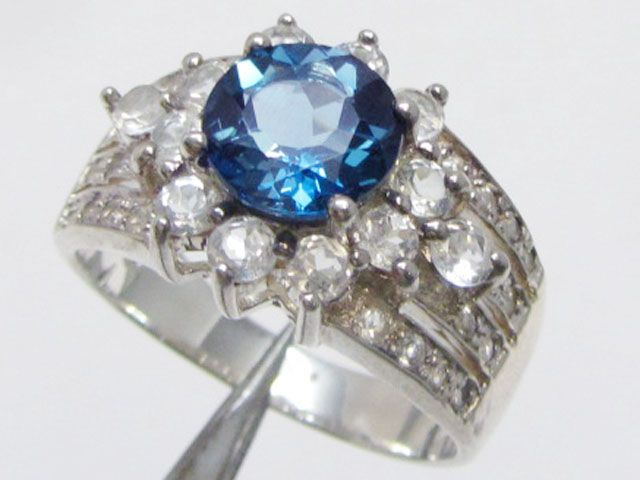 Topaz Blue set in silver ring size 13.5  MJA 824  NATURAL BLUE TOPAZ GEMSTONE RING   FROM GEMROCKAUCTIONS.COM