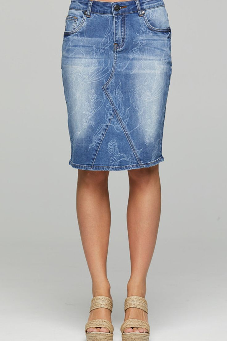 New London - Finchley Ks Stencil Denim Skirt