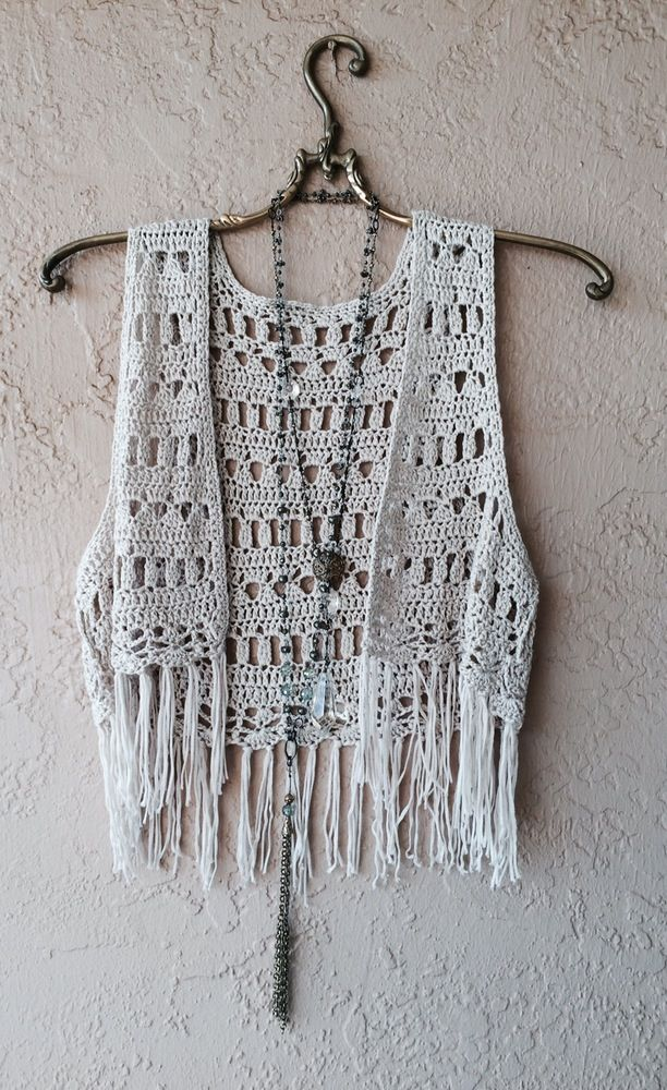 Image of Bohemian Coachella fringe crochet vest for summer of love