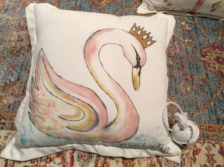 Handmade handpainted decorative cushion swan velvet by Christina Pappa #handmade #cushion #handpainted #art #velvet #pillow #interior #design #decorative #ideas #for #home