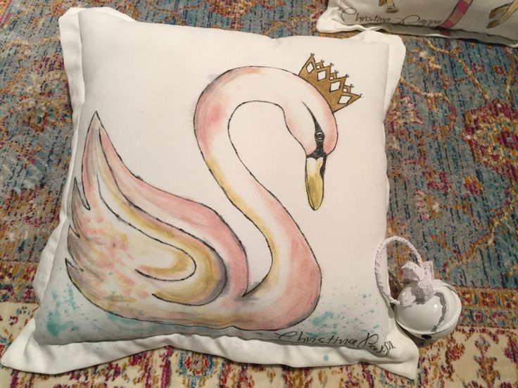 Handmade handpainted decorative cushion swan velvet by Christina Pappa #handmade #cushion #handpainted #art #velvet #pillow #interior #design #decorative #ideas #for #home