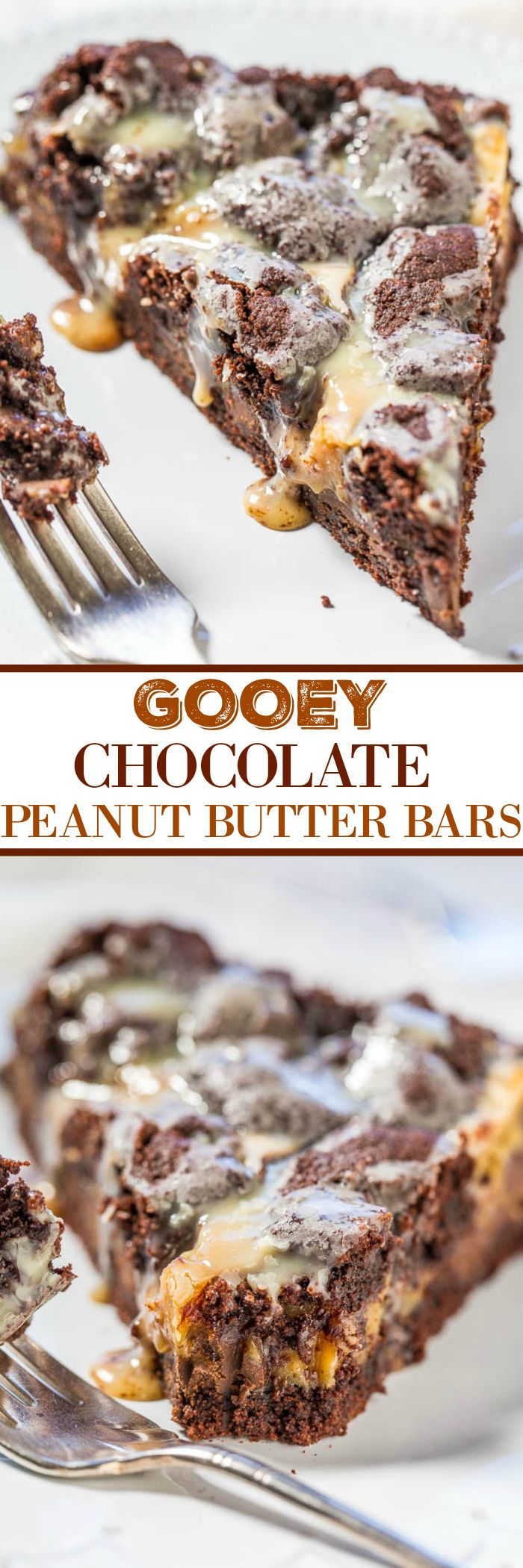 Gooey Chocolate Peanut Butter Bars - A rich, fudgy, decadent, brownie-like base with a peanut butter mixture poured over the top!! Fast and easy! So gooey and so good!! Perfect for your holiday dessert table!