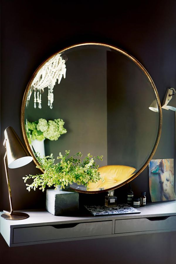 "How To Decorate Your Small Space For Fall — Tips From The Pros #refinery29  http://www.refinery29.com/small-space-designer-solutions#slide8  Supersize Your Mirror  ""Mirrors bring in extra light, expand horizons, and add depth. A super-large one will expand the space and make it seem way bigger than it actually is."" — Abigail Ahern"
