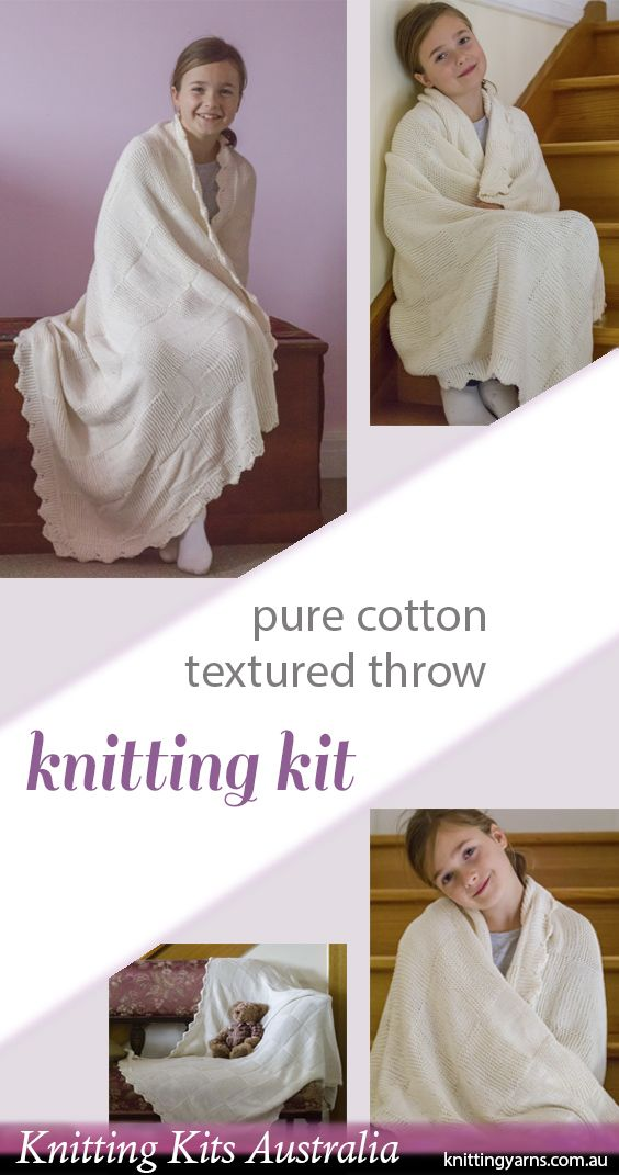 Australian Made pure cotton yarn and exclusive knitting pattern to create your own beautiful throw with this kit from Knitting Kits Australia. Find more knitting kits in-store now.