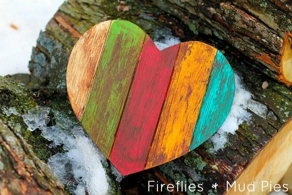 Antiqued Wooden Heart. A simple Valentine's Day craft for kids or adults.