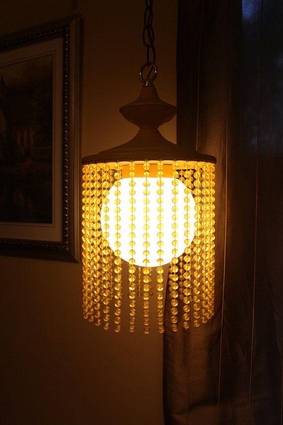 791b057169f Vintage Yellow Mod Beaded Hanging Light UFO Space Globe Chandelier Retro Swag  Lamp Plastic Yellow Beads
