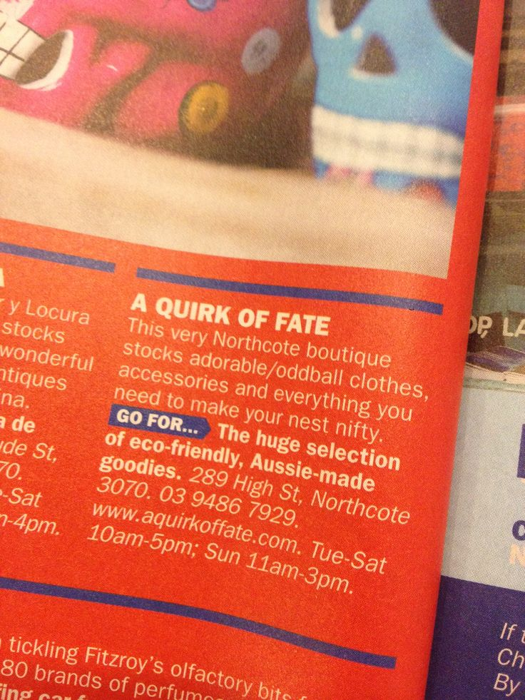 Time Out Aus magazine featured A Quirk Of Fate in their latest issue. Yay!
