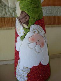 Studio da Berê: Cone de Papai Noel no isopor :: Patchwork sem agulha ::