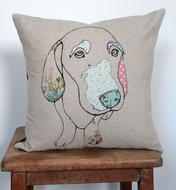 Applique Dog Cushion by florencev4 on Etsy, $45.00 Lovely !