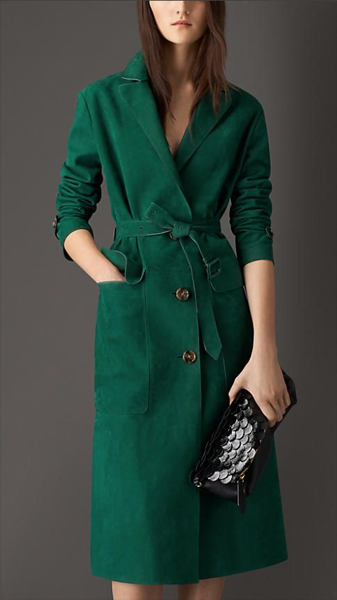 Burberry London Lambskin Trench Coat in Teal Green, The Petal in Leather With Patent Embellishment in Black
