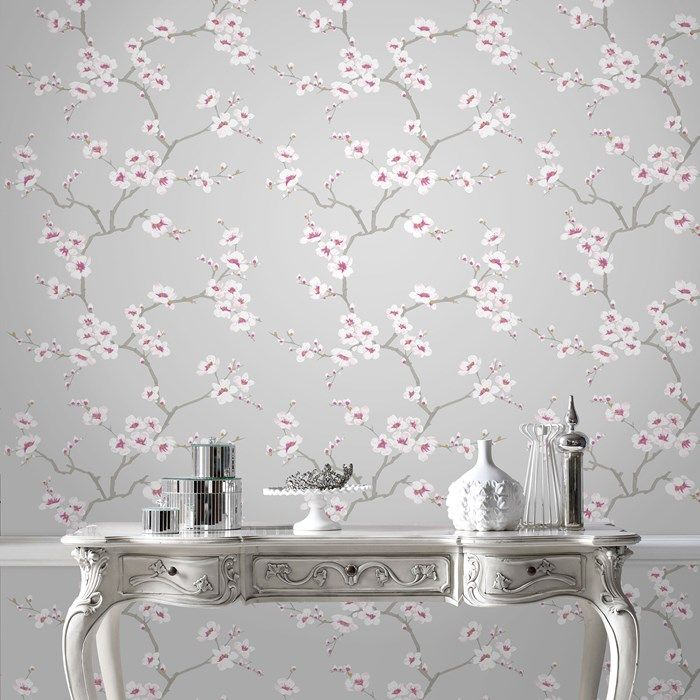 Papier peint pommiers en fleurs gris graham and brown for Black and grey wallpaper designs