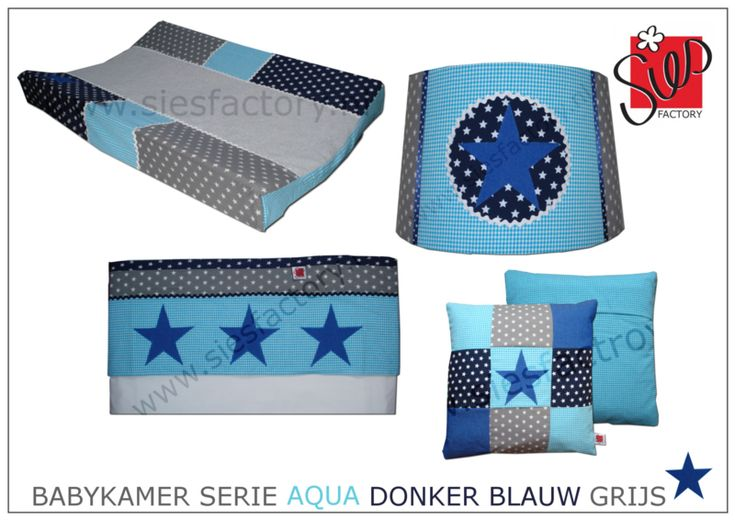 Babykamer aankleding aqua blauw, donker blauw en grijs met kobalt jeans ster