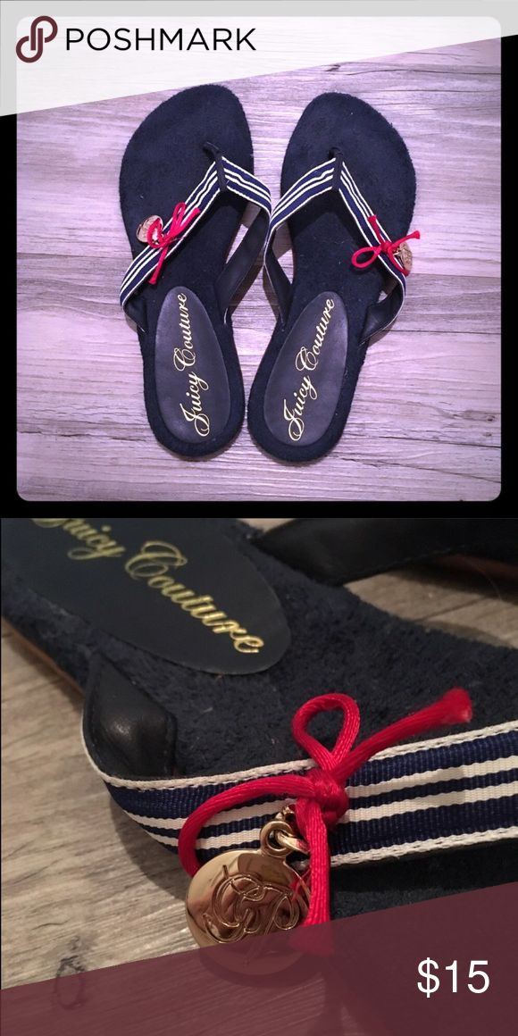 Juicy Couture Nautical flip flops Navy blue and white striped straps tied off with a cute red bow and gold pendant accent. The footbed is lined with a navy blue terry cloth. Great condition. Very comfortable. Smoke free home. Juicy Couture Shoes Sandals