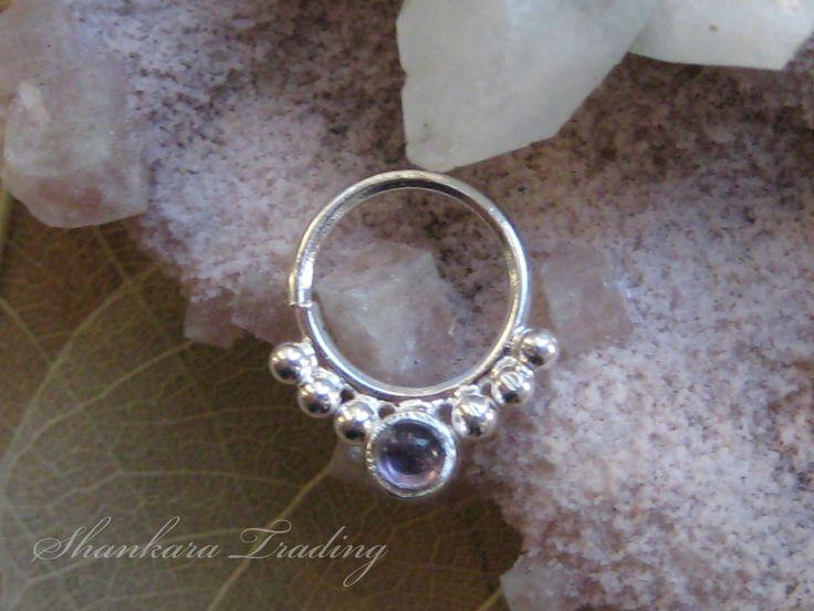 Amethyst Septum Ring, Septum Jewellery, Nose Rings