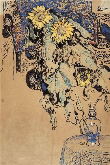 georges lemmen   Vase with Sunflowers, Georges Lemmen. Belgian (1865 - 1916)