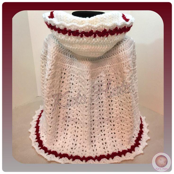 Crochet Long Hooded Baby Cape  http://facebook.com/Kats.hats.1