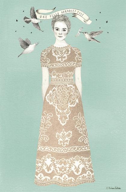 elle fanning by Madame Lolina, via Flickr Inspiración dibujo+bordado