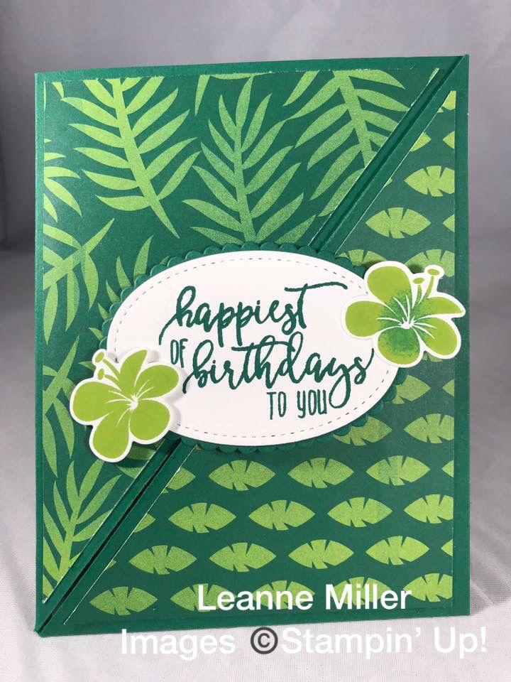 Tropical Hauʻoli La Hanau Happy Birthday Card Stampin Up Cards Happy Birthday Cards Birthday Cards