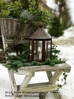 Christmas garden vignette