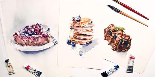 Три иллюстрации в одном-мини-курсе по food-иллюстрации: вишневый чизкейк, брауни в шоколадной глазури и панкейки с медом и голубикой.