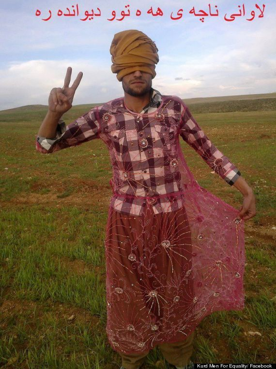kurd men for equality dress in womens clothing to protest