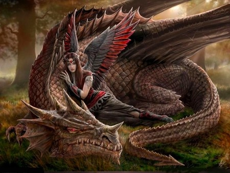 Dragon protector: Angel, Dragon S, Annestokes, Fairies, Dragons, Fantasy Art, Winged Companions, Anne Stokes, Mythical Creatures
