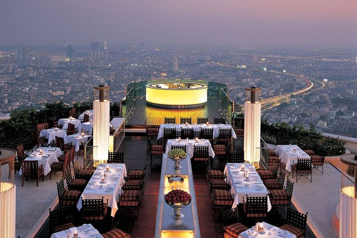 From your perch on the 63rd floor of the Lebua hotel, dine on chef Clément Pellerin's Mediterranean fare at the Sirocco restaurant or enjoy a cocktail at the adjoining Sky Bar. The elegant spaces, fashioned by architecture firm DWP, are finished with sandstone, timber veneers, gold-leaf touches, and Thai silks.lebua.comCheck out six new design-savvy restaurants in New York City Don't miss our guide to the most gorgeous new restaurants around the world Discover the most stylish new eateries…