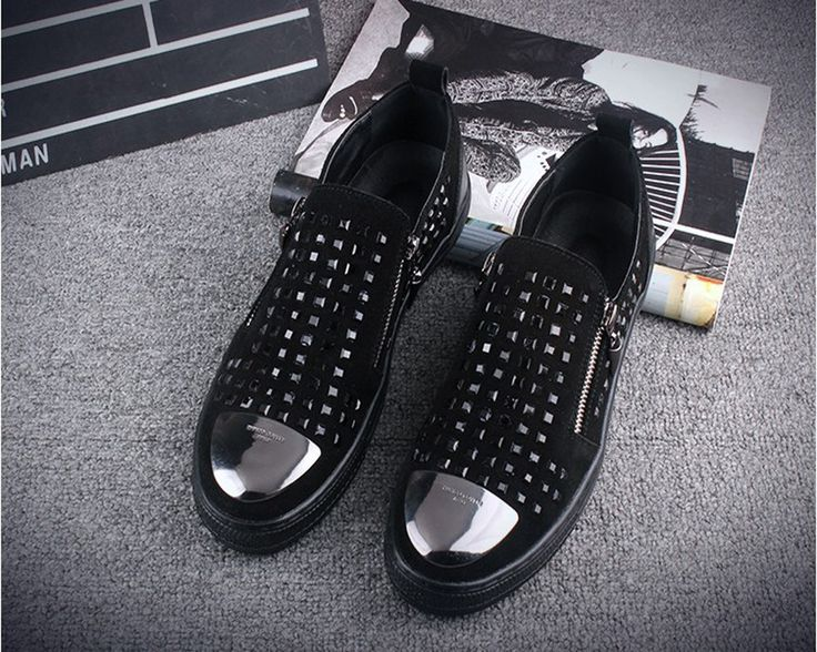 England Designer Side Zip Men Casual Shoes Fashion Metal Decoration Party and Banquet Men Loafers Young Man Rivet Flats #Affiliate