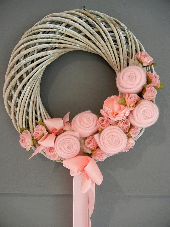Pink Felt and Faux Rose Wicker Wreath with Pink Bow by DaraWreaths