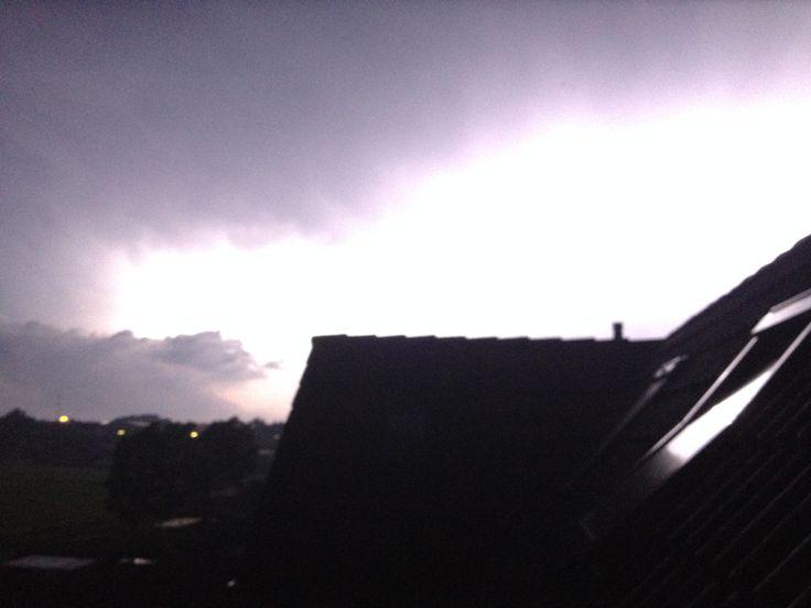 Onweersbui boven Texel in de nacht van 7 op 8 juni 2014