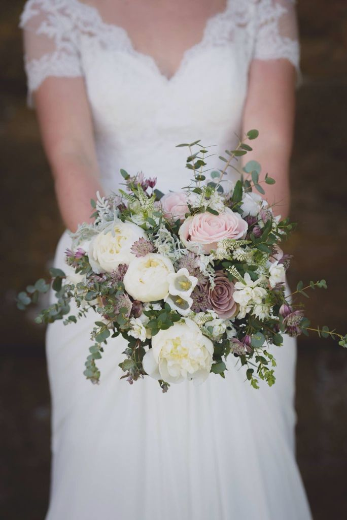 Gorgeous vintage bridal bouquet, Peonies and Amnesia roses steal the show, perfect for a May bride www.mrs-umbels.co.uk