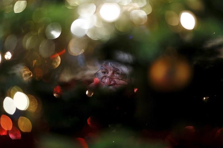 CHRISTMAS-SANTA/Actor John Field, dressed as Santa Claus, is seen through a Christmas tree at the Wetland Centre in London, Britain, December 5, 2015. REUTERS/Stefan Wermuth