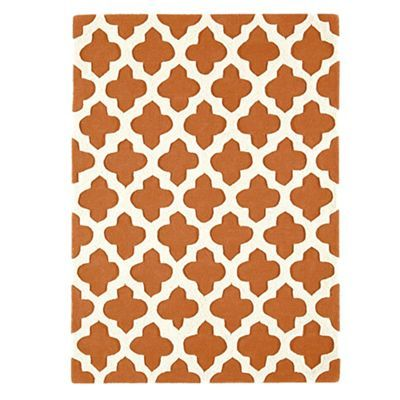 Debenhams Terracotta wool 'Artisan' rug | Debenhams