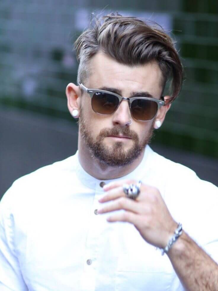 Side Short Hairstyle With Goatee Beard