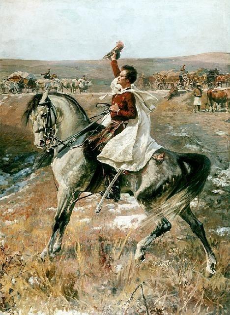 Sandor Petöfi on horseback - Jan Styka