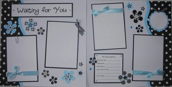 WAITING FOR YOU 12x12 Premade Scrapbook Pages PreGnaNCy ExPecTinG BaBY. $27.00, via Etsy.