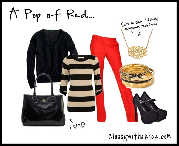 A Pop of Red - Red Pants, Black and Gold: Style, Pin, Outfit Inspirations, Fashion Inspiration, Gold, Casual Wear, Black, Red Pants, I D Wear