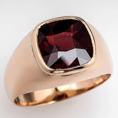 Mens Vintage Red Garnet Ring Bezel Set Solid 10K Gold