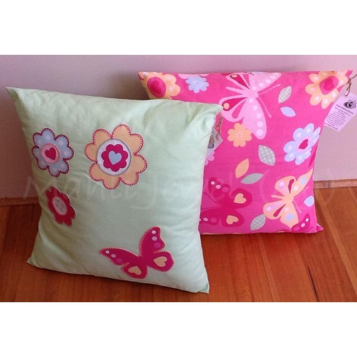 $35.00 CUSH3 Bright green cushion with hand stitched butterfly flower applique COPY by MahliJewelMJ on Handmade Australia