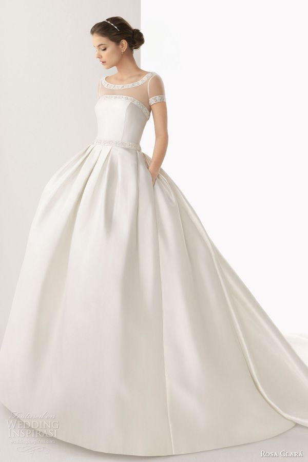 rosa clara 2014 cabo strapless ball gown wedding dress full short sleeve illusion top