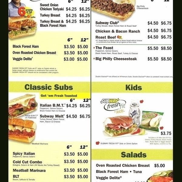picture about Printable Subway Menu called Subway Printable Menu Global Of Template Structure with