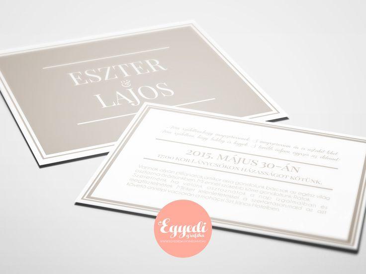 Elegáns bézs és fehér szitanyomású esküvői meghívó | Beige and white elegant wedding invitation card