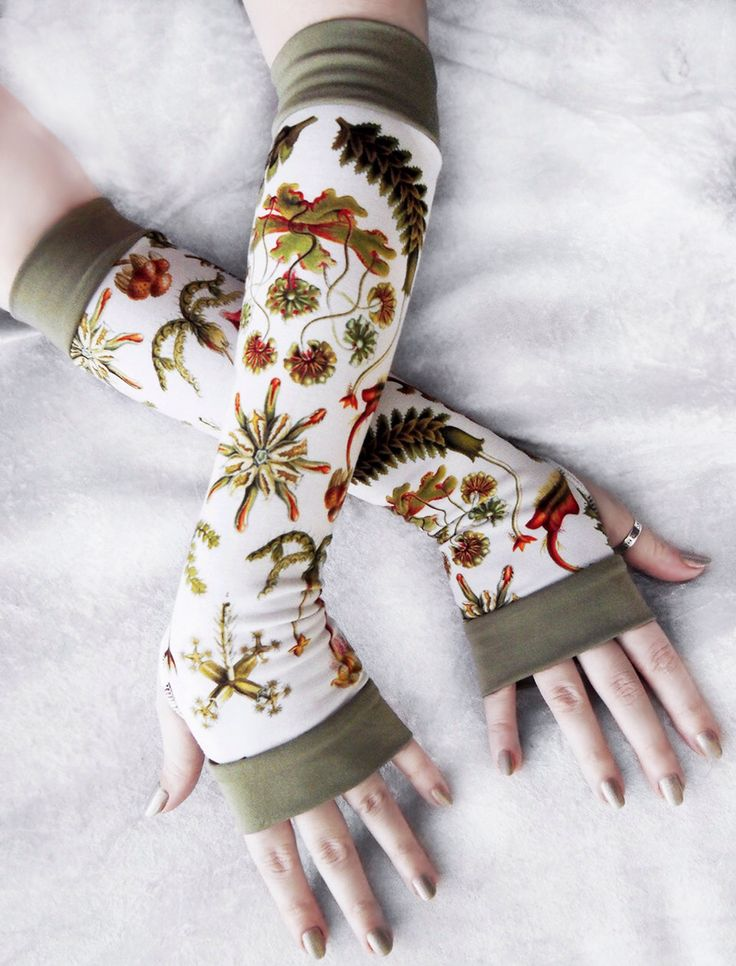 Hepaticae Arm Warmers | Vintage Botany Print Sage Green Cream White Yellow Brown Coral Red | Yoga Gloves Unisex Boho Scientific Illustration by ZenAndCoffee on Etsy https://www.etsy.com/listing/246304842/hepaticae-arm-warmers-vintage-botany