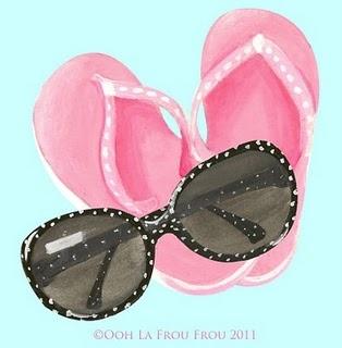 Sunglasses and Flip Flops illustration by Illustrator SANDY M via ooh la frou frou