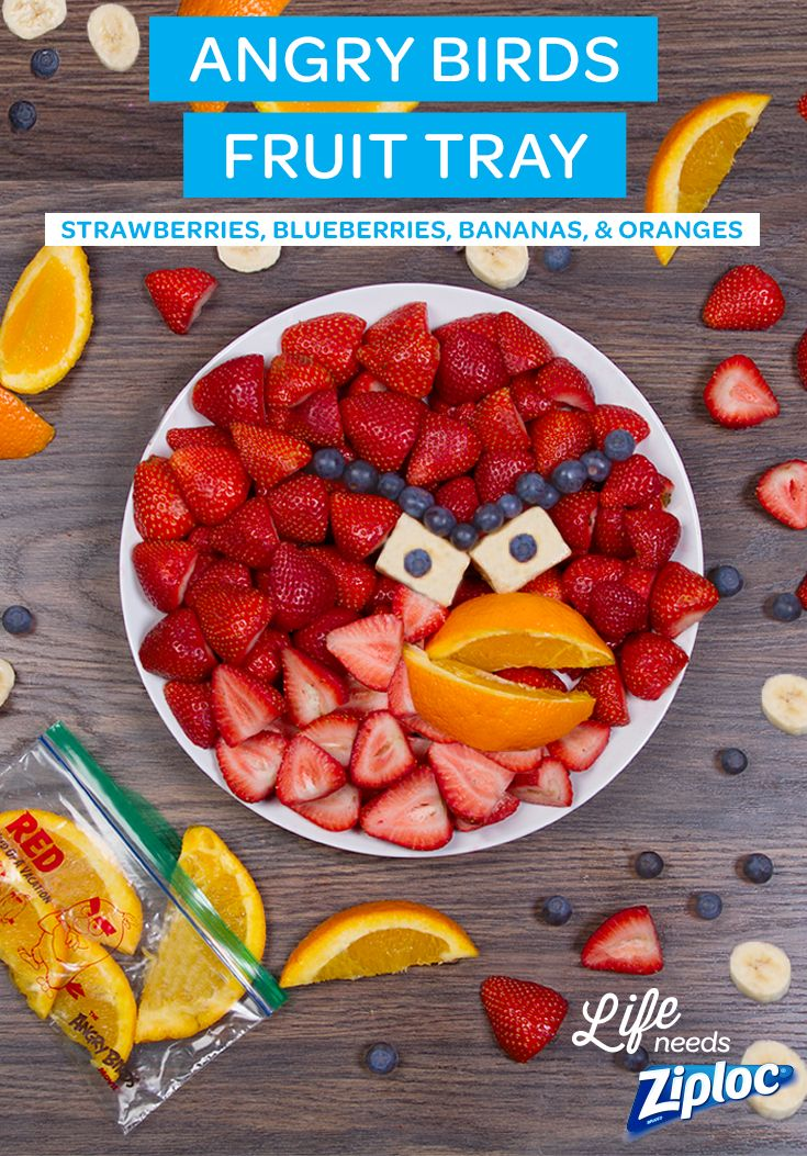 Serve the kids a healthy helping of fruits with this easy Angry Birds platter. All you need are strawberries, blueberries, bananas, and an orange. Great idea for brunch or an Angry Birds-themed birthday party. Pack up any leftovers in Ziploc® snack bags for later. See The Angry Birds Movie in theaters May 20th. ©2016 Rovio