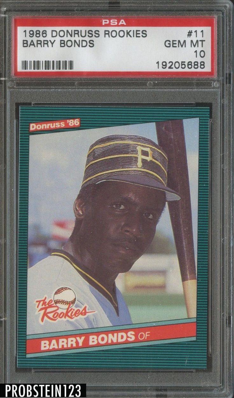 1986 donruss rookies 11 barry bonds pirates rc rookie psa